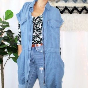 Free People NWT Chambray Linen Cotton Vest Jacket